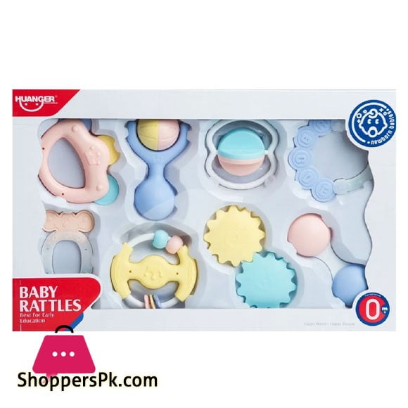 Huanger Baby Rattles for New Born Multi Color - 8 Pieces