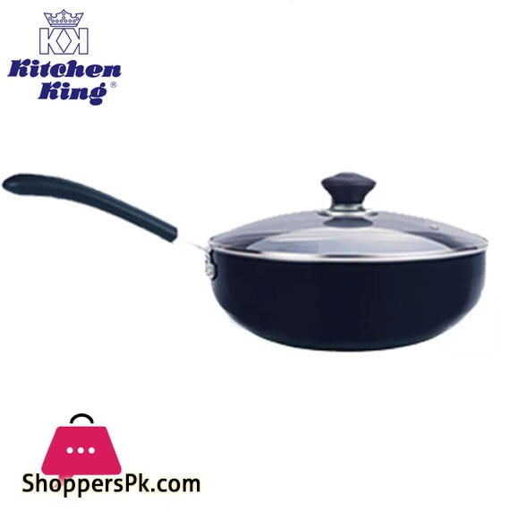Kitchen King Imperial Classic Non Stick Single Handle Wok With Glass Lid 26cm