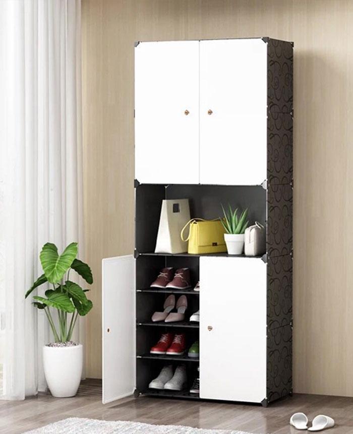 Multi Purpose Diy Cube Cabinet-Black and White