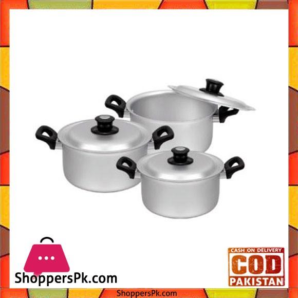 Sonex Bakelite Handle Set – 3 Cooking Pots Set – Anodized – 50471