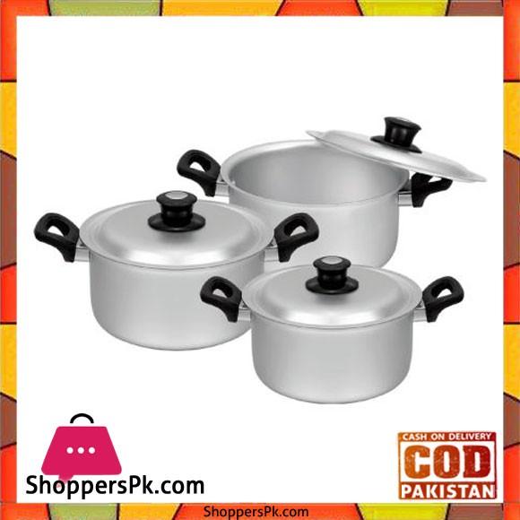 Sonex Bakelite Handle Set – 3 Cooking Pots Set – Anodized