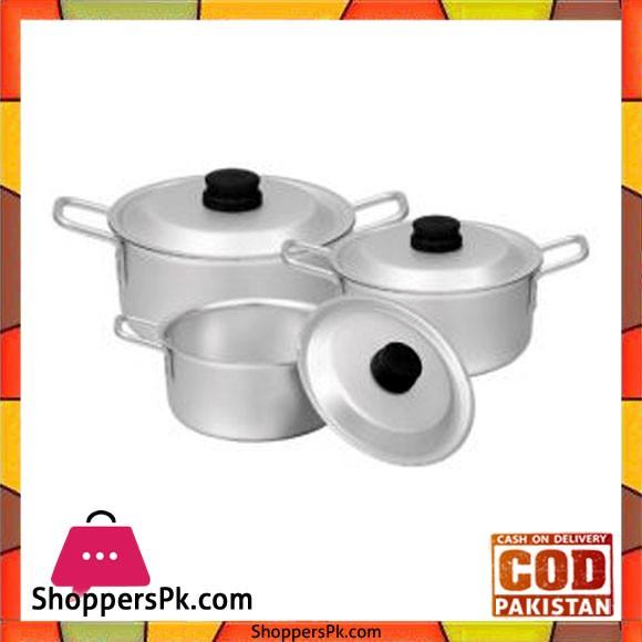 Sonex Chrome Wire Handle Set – 3 Cooking Pots Set – 50473