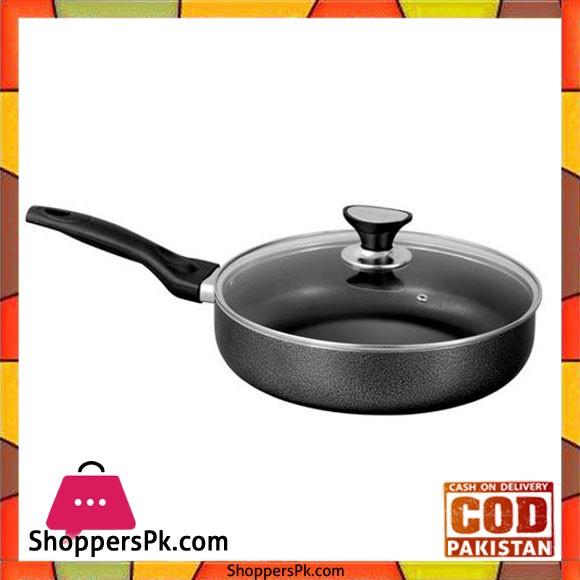 Sonex Non-Stick Classic Fry Pan With Glass Lid 28cm - Black