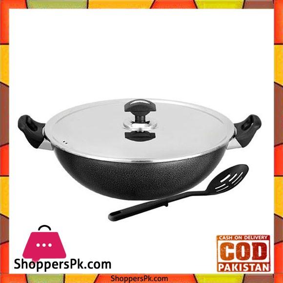 Sonex Non-Stick Cooking Wok With Steel Lid - 27 cm - Black