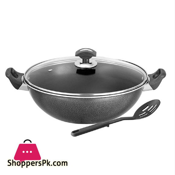 Sonex Non-Stick Cooking Wok with Glass Lid 34 cm – Black