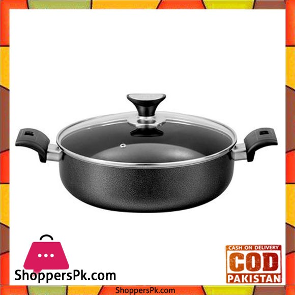 Sonex Non-Stick Flat Cooking Wok With Glass Lid - 36cm - Black