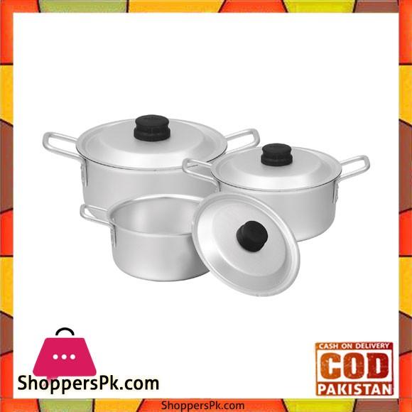 Sonex Chrome Wire Handle Set – 3 Cooking Pots Set