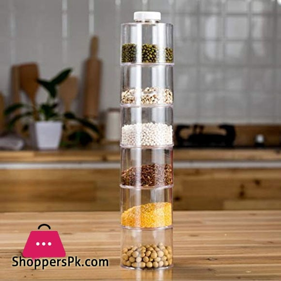 Spice Tower Stacking Bottles With Sifter Lid Set of 6