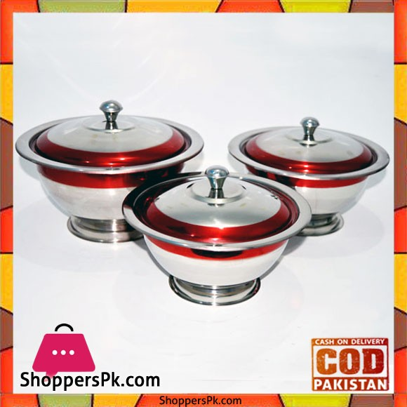 Stainless Steel Donga 3 Piece Set Red