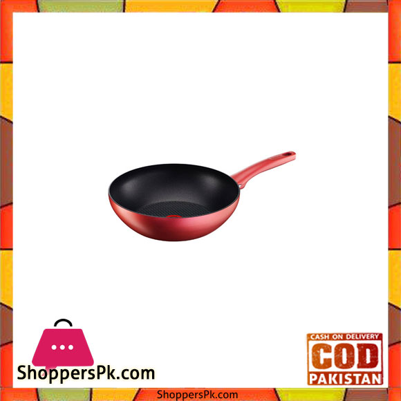 buy tefal red induction wokpan 28 cm c6821975 at best price in pakistan. Black Bedroom Furniture Sets. Home Design Ideas