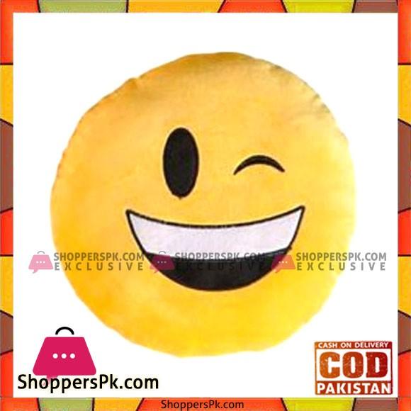 Wink Emoji Cushion - Yellow