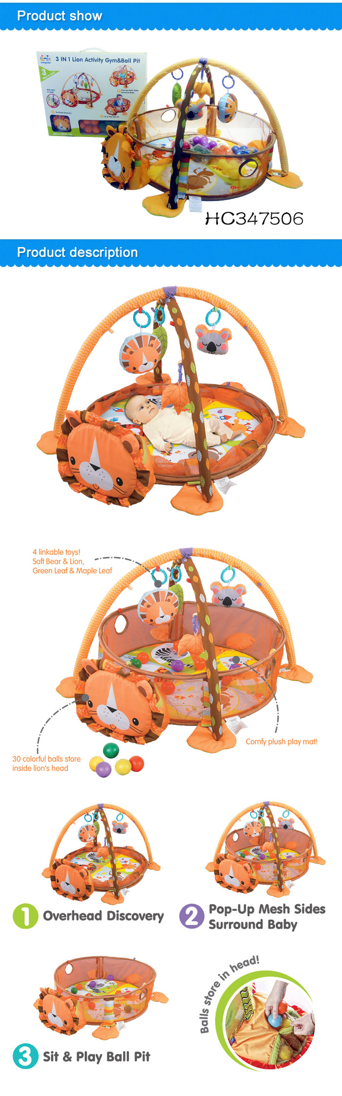 3 in 1 Lion Soft Baby Activity Gym Baby Ball Pit Baby Play Mat With Sides
