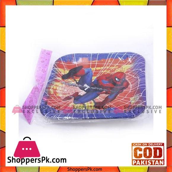 Balloons 10Pcs Spiderman Theme Square Plate - Multi