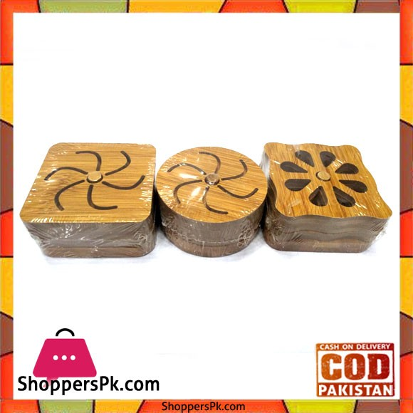 Bamboo Tea Coaster with Stand - 1 Pcs