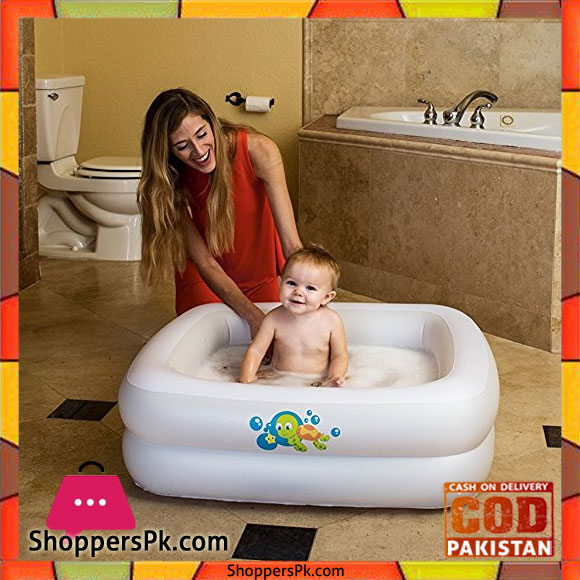 bestway baby bath tub square with inflatable bottom white 34 x 34 x 10 inch 51116 shoppers. Black Bedroom Furniture Sets. Home Design Ideas