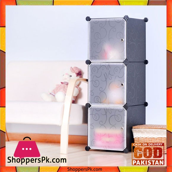 Intelligent Plastic Portable Cube Cabinet 3 Cube