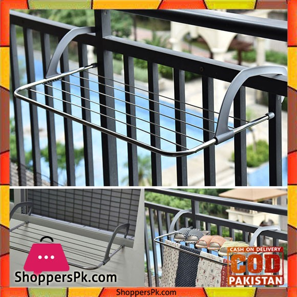Indoor Outdoor Easy Install Folding Clothes Rack Drying Shoes Dryer Laundry Hanger Balcony Stainless Steel Bathroom Window