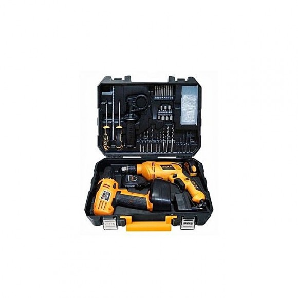 Ingco 97 Pcs Tool Set with Cordless Drill and Electric Drill 650and12V -HJTU456