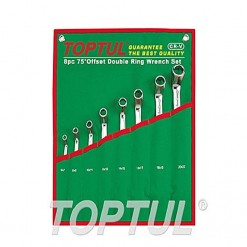 TOPTUL Double Offset Ring Wrench Set 75° 8PCS Pouch Bag TOPTUL GAAA0810