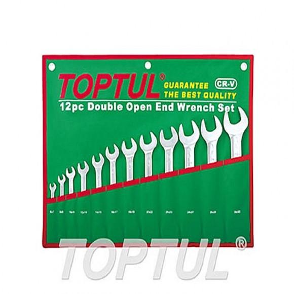 TOPTUL Double Open End Fix Wrench Set 12pcs POUCH BAG 6x7 to 30x32mm TOPTUL GAAA1206