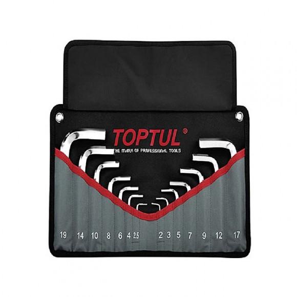 TOPTUL LN Key Set 14pc 2 to 19mm standard length (hex type) Pouch Bag Color Box TOPTUL GPAQ1401