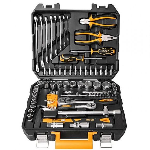 Ingco CV Socket & Tool Set - 77 pc - Black & Orange