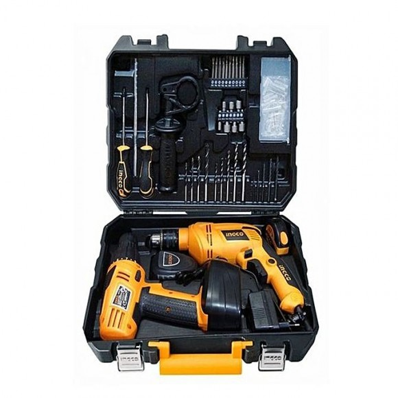 Ingco 97 Pcs Tool Set with Cordless Drill and Electric Drill-881310