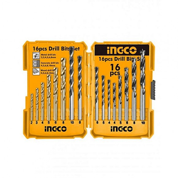 Ingco Metal Wood Concrete Drill Bit Set - 16pc - Silver
