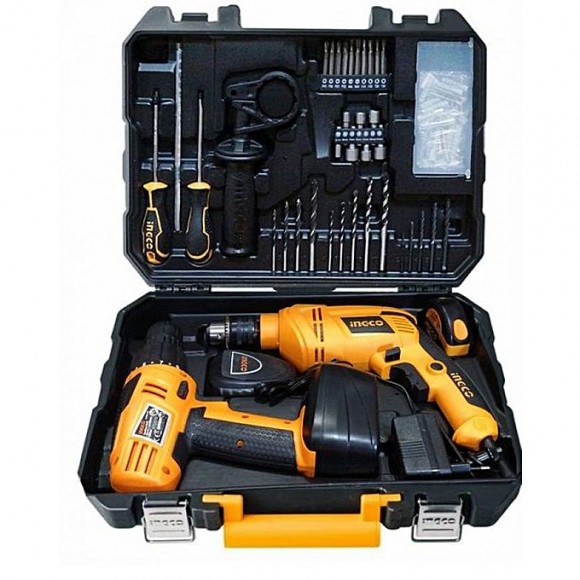 Ingco Tool Set With Cordless Drill And Electric Drill 97 Pcs - HKTHP10971