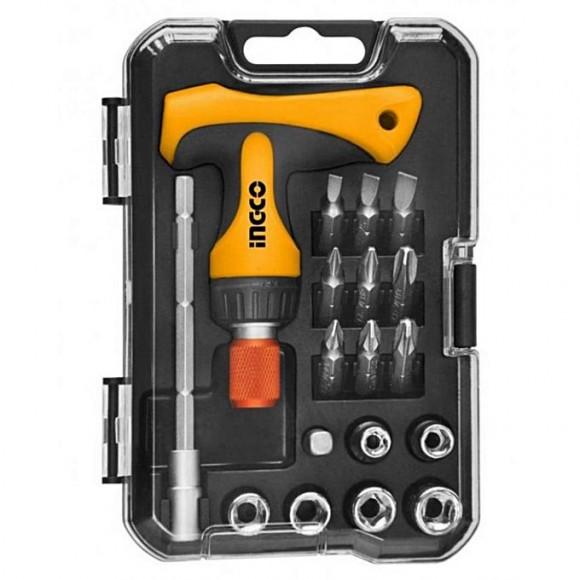 Ingco T-Handle Wrench Screwdriver Set - 18 Pcs