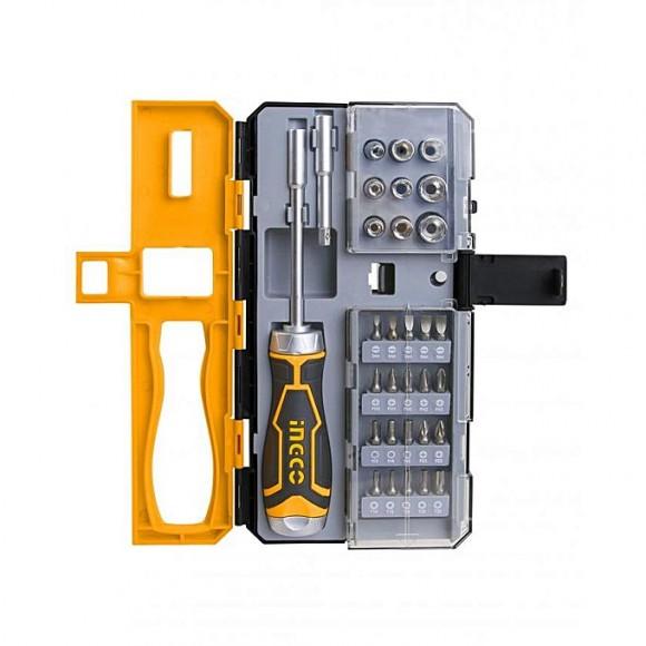 Ingco Screwdriver Bit Set - 33 Pcs - Grey & Yellow