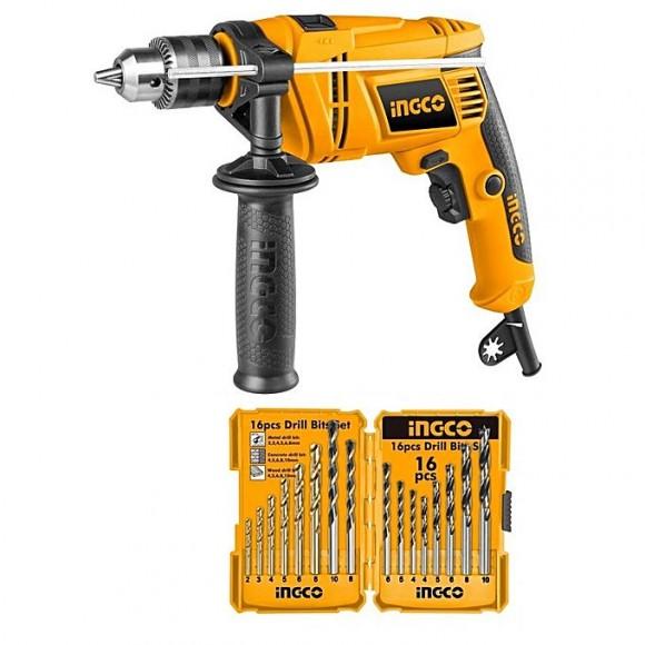 Ingco Drill Machine Set - 16 Pcs - 650w - Yellow