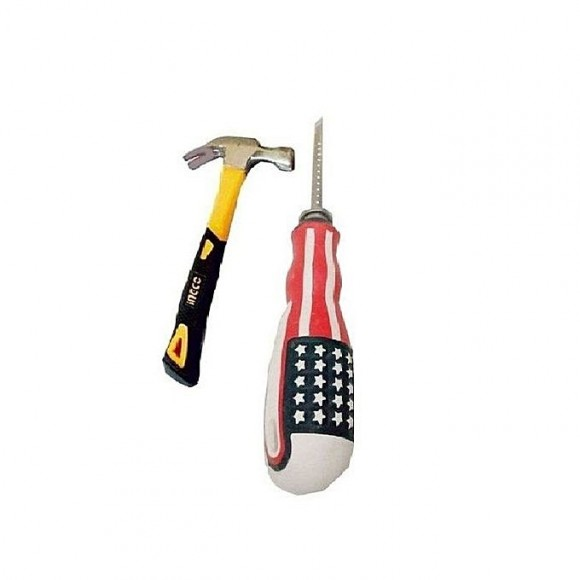 Ingco Set of 2 - Hammer & Screw Driver - Multicolor