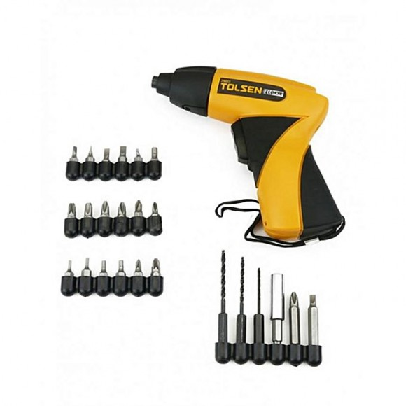 Tolsen Cordless Electric Screwdriver with 24 Accessories - Black & Yellow