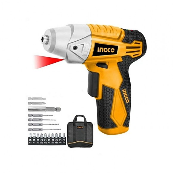 Ingco Cordless Screwdriver With Accessories - Yellow & Black