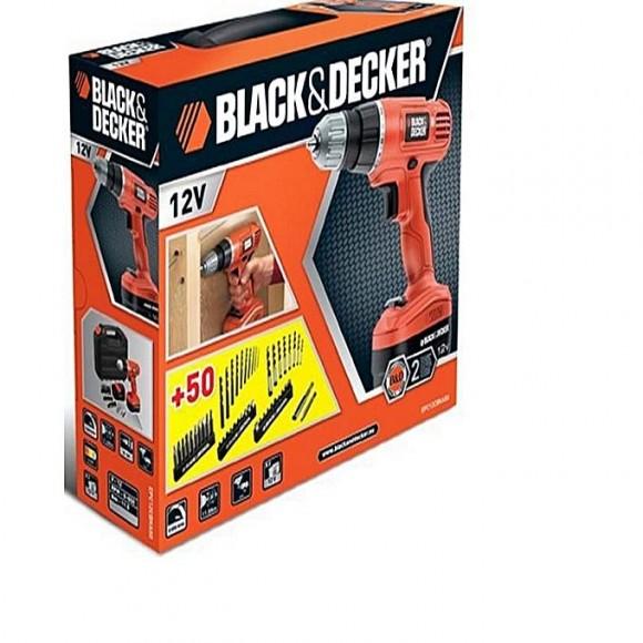 Black & Decker CORDLESS HAMMER DRILL 12V WITH 2 BATTERIES & KITBOX Black and Decker