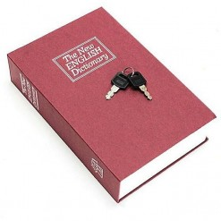 Flair Mini Dictionary Safe Storage Box with Key Lock , Metal Diversion Money Storage ,Secret (Red)