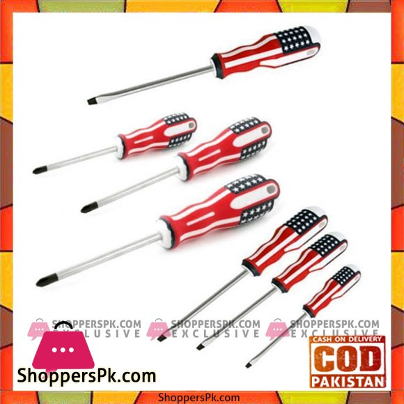 7 Pcs Usa Flag Screwdriver Set - White