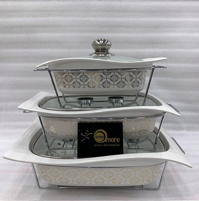 Buffet Dishes With Glass Lids & Stand 3 Pcs Set 009-81-1