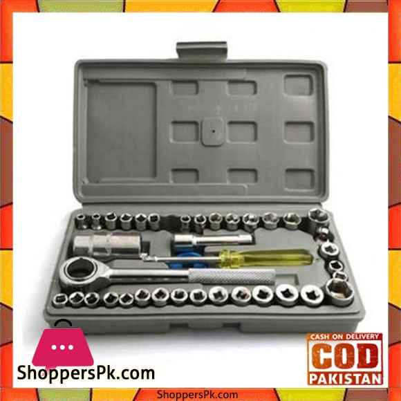 40 Pcs Combination Socket Wrench Set Tool Kit - Silver