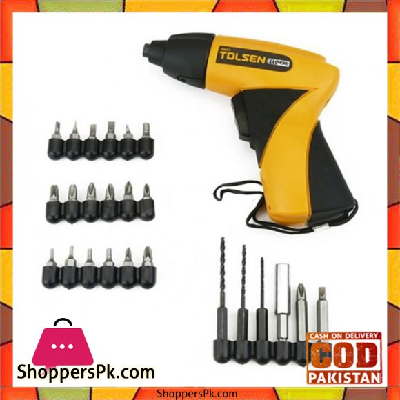 Cordless Electric Screwdriver With 24 Accessories - Black And Yellow