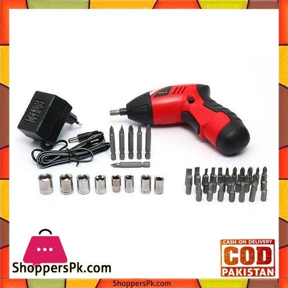 Cordless Screwdriver Machine 4.8V + 44 Accessories - Red