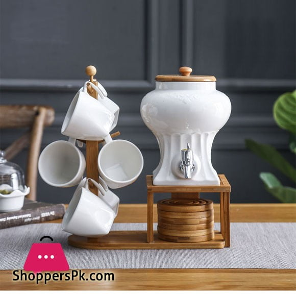 Creative Nordic Shape Wooden Holder Cup Hanging Ceramic Coffee Tea Set Restaurant Home Coffee Cup