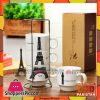 Eiffel Tower Ceramic Mugs Set with Holder