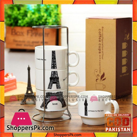 Eiffel Tower Ceramic Mugs Set with Holder