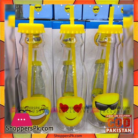 High Quality Smiley Plastic Bottle with Straw