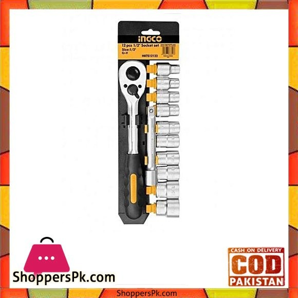 Ingco 12Pcs 1/2 Inch Socket Set
