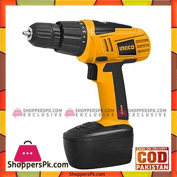 Ingco Cordless Drill Machine - 12V - Yellow