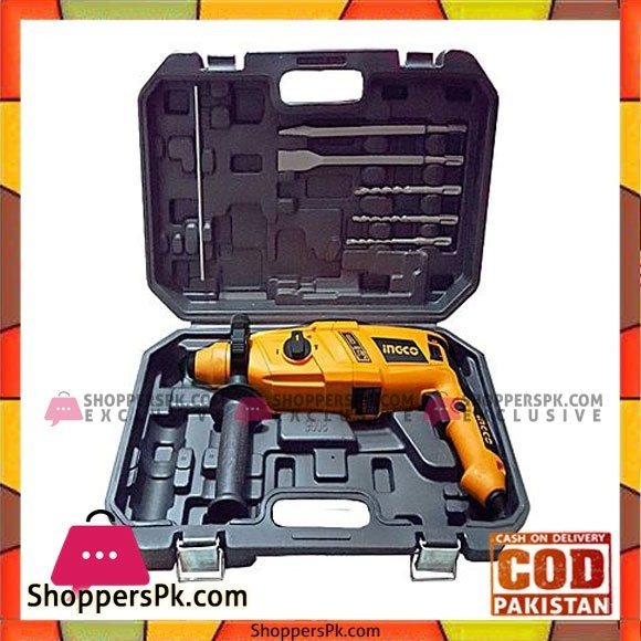 Ingco Heavy Duty Rotary Hammer Lte Drill 800Watt With 5 Pcs Drilling Accessories