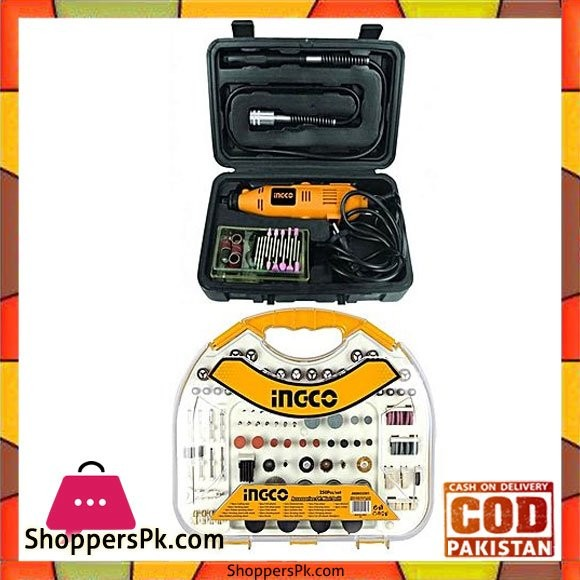 Ingco Pack of 2 - Mini Drill Kit - 130W - 52 Pcs Accessories - 250pcs Accessories Set for Mini Drill